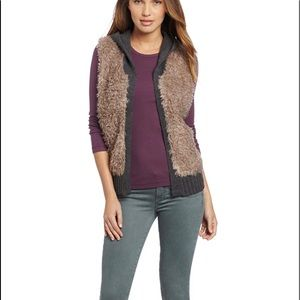 Echo design faux fur with knit hood S/M taupe/grey